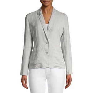 Eileen Fisher Silver Sparkle Gray Linen Blazer